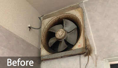 換気扇の油とホコリによるしつこい汚れを落としたい!Before